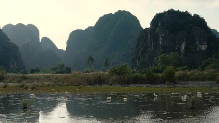 Panorama view of beautiful karst scenery, river and rice paddy fields at Tam Coc, Ninh Binh Province, Vietnam.