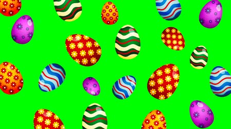 Easter eggs wiggle on color background. Loopable animation.