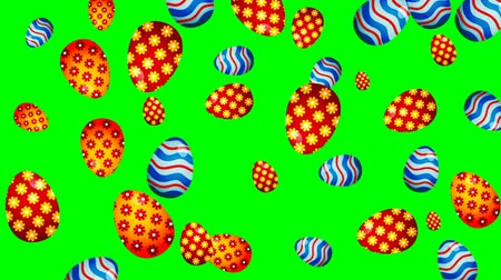 Easter eggs rotating on color background. Loopable animation.