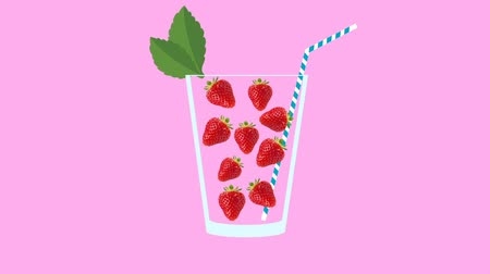 мохито : Fresh fruit cocktail party animation. Side view of red strawberry in the glass with mint leaf and cocktail straw. Minimal Motion collage art. Loopable animation. Стоковые видеозаписи