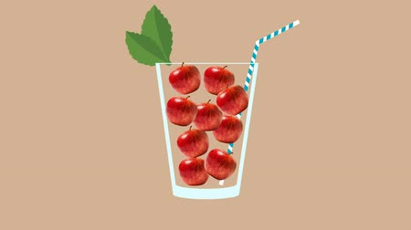 мохито : Fresh fruit cocktail party animation. Side view of red apple in the glass with mint leaf and cocktail straw. Minimal Motion collage art. Loopable animation.