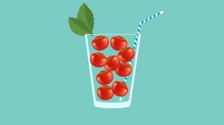 мохито : Fresh fruit cocktail party animation. Side view of red tomato in the glass with mint leaf and cocktail straw. Minimal Motion collage art. Loopable animation.