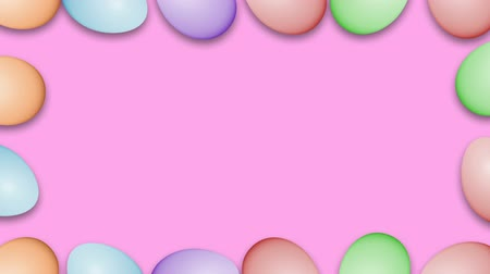 nyuszi : Easter eggs border frame. Easter eggs rotating - seamless loopable colorful background animation. Stock mozgókép