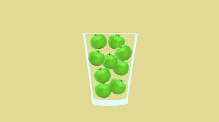 モヒート : Fresh fruit cocktail juice party animation. Side view of green apple in the glass. Minimal Motion collage art. Loopable animation.