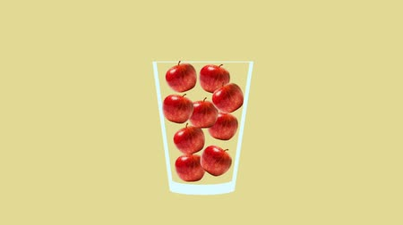 calçada : Fresh fruit cocktail juice party animation. Side view of red apple in the glass. Minimal Motion collage art. Loopable animation.