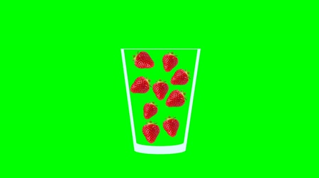 мохито : Fresh fruit cocktail juice party animation. Side view of red strawberry in the glass. Minimal Motion collage art. Loopable animation. Стоковые видеозаписи