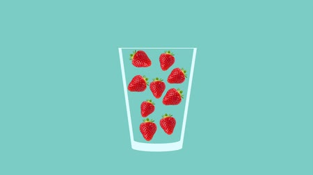 モヒート : Fresh fruit cocktail juice party animation. Side view of red strawberry in the glass. Minimal Motion collage art. Loopable animation. 動画素材