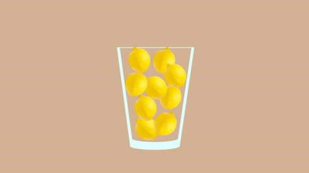 мохито : Fresh fruit cocktail juice party animation. Side view of yellow lemon in the glass. Minimal Motion collage art. Loopable animation.