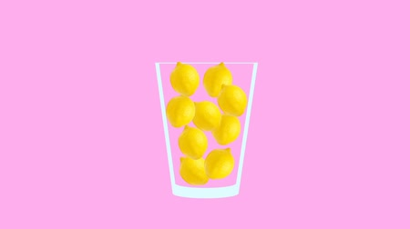 モヒート : Fresh fruit cocktail juice party animation. Side view of yellow lemon in the glass. Minimal Motion collage art. Loopable animation.