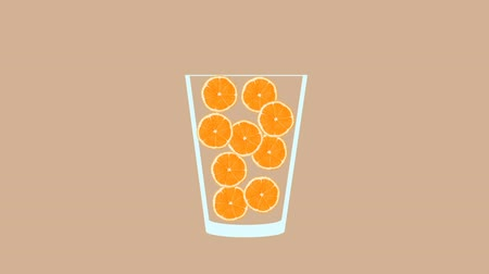 モヒート : Fresh fruit cocktail juice party animation. Side view of orange in the glass. Minimal Motion collage art. Loopable animation.