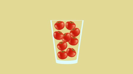 мохито : Fresh fruit cocktail juice party animation. Side view of red tomato in the glass. Minimal Motion collage art. Loopable animation. Стоковые видеозаписи