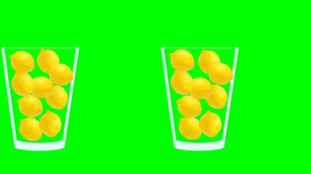 モヒート : Fresh fruit juice animation. Side view of glass on moving conveyor filled with red apples moving to the left. Abstract motion graphics in trendy colors and style. Seamless looping animation. 動画素材