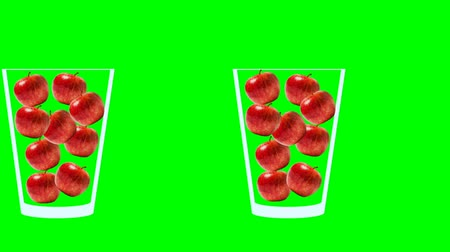 domates : Fresh fruit juice animation. Side view of glass on moving conveyor filled with tomatoes moving to the left. Abstract motion graphics in trendy colors and style. Seamless looping animation. Stok Video