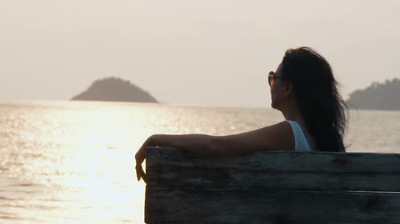 rendes : Rear view of an attractive smiling woman watching sunset on a tropical beach. Stock mozgókép