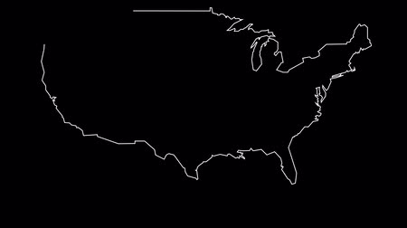 contornos : USA map outline animation Vídeos