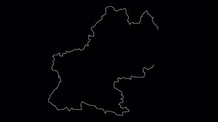 Midi Pyrenees France map outline animation