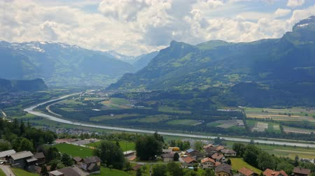 View on the valley in Triesenberg, Liechtenstein Stock mozgókép