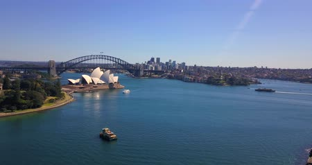 australian landscape : Aerial panoramic view of the Sydney opera house by the Harbour bridge. April 10, 2017. Sydney, Australia.