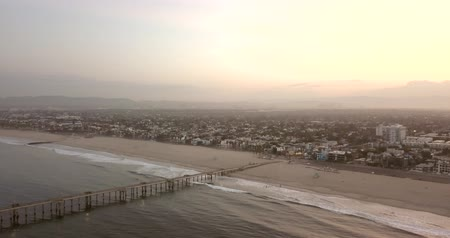 los angeles skyline : Early morning aerial sunrise view of the Venice beach in Los Angeles, USA.