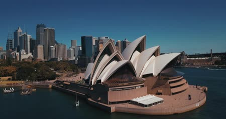 australian landscape : Sydney, Australia - November 10, 2018. Aerial view of the Sydney Opera House is a multi-venue performing arts centre identified as one of the 20th centurys most distinctive buildings