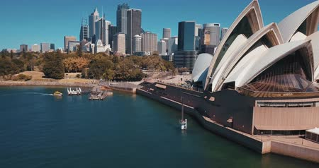 sea port : Sydney, Australia - November 10, 2018. Aerial view of the Sydney Opera House is a multi-venue performing arts centre identified as one of the 20th centurys most distinctive buildings