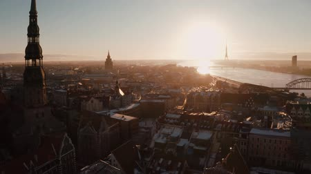 latvia : Beautiful aerial view of the Riga old town during sunset or sunrise during sunny winter day in Latvia. Amazing Riga.