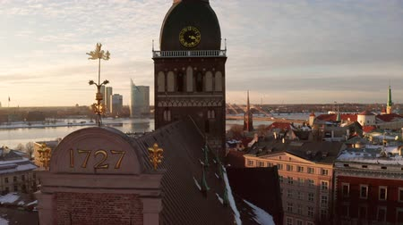 architectural heritage : Aerial panoramic view of the Riga Dome Cathedral during winter sunset. The main cathedral in the old town. Beautiful Latvia.