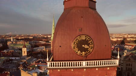 lutheran : Aerial panoramic view of the Riga Dome Cathedral during winter sunset. The main cathedral in the old town. Beautiful Latvia.
