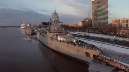 water cannon : Riga, Latvia. January 20, 2019. The German frigate F 221 Hessen in Riga, Latvia docked near the old town.