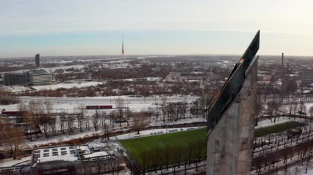 Латвия : Panoramic aerial view of Riga old town during winter Christmas day in Latvia Стоковые видеозаписи