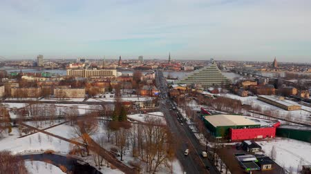 new town : Panoramic aerial view of Riga old town during winter Christmas day in Latvia Stock Footage