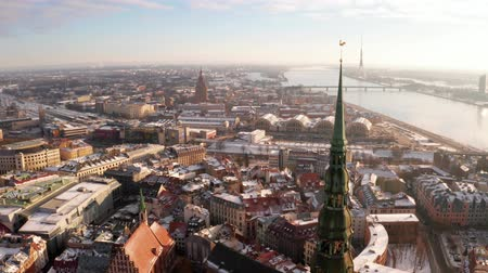 バルト : Panoramic aerial view of Riga old town during winter Christmas day in Latvia 動画素材