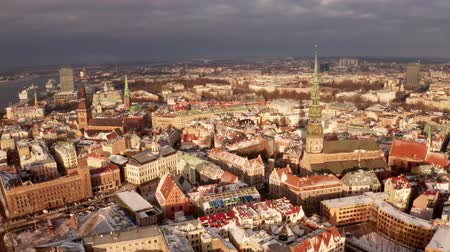 street market : Panoramic aerial view of Riga old town during winter Christmas day in Latvia Stock Footage