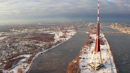 latvia : Aerial view of the TV tower in Riga, the capital of Latvia. The highest building in the European Union.