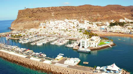Aerial view of Puerto de Mogan town on the coast of Gran Canaria island, Spain.