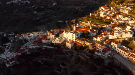 Gran Canaria mountain village view. Teror village at sunset. Aerial scene.