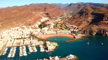 Aerial view of the Puerto de Mogan town on the coast of Gran Canaria island, Spain.