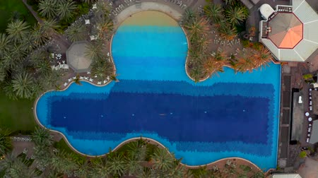 Aerial pool view at the luxury resort Стоковые видеозаписи