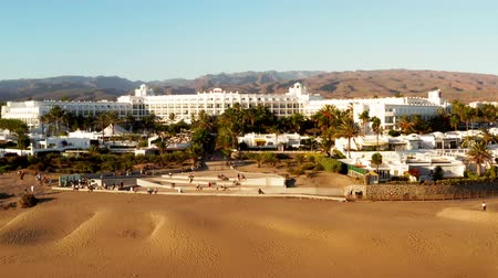 Maspalomas, Gran Canaria - NOVEMBER 23, 2018: Evening aerial view of the Maspalomas dunes by the Riu Hotel.