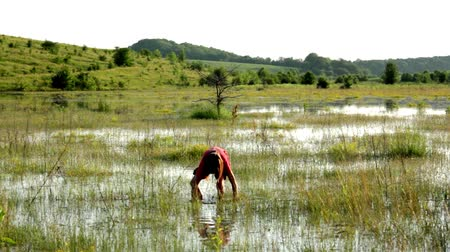 szukanie : boy on a flooded meadow, swamp boy explores