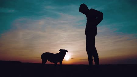 koppintás : Silhouette of a teenager dancing at sunset with a dog. A guy in a sweatshirt with a hood dances in front of the dog at sunset in the field. Stock mozgókép