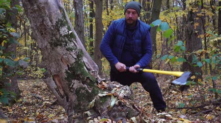 woodcut : Ax slowing down. Forester chopping trees in the forest. Slow motion.