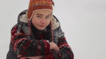 igloo : The boy plays in the snow in the winter. A child plays in nature. Stock Footage