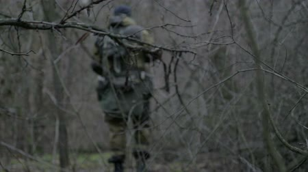 ukraine : A group of scout saboteurs perform the task. An armed soldier, terrorist, saboteur.