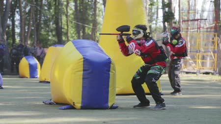 paintball : June 2019, Vinnitsa, Ukraine - Paintball Championship. About sports, fun, action, war, fighting, sports, paint, race, tournament, playground, weapons, adrenaline, game