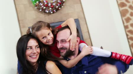 Young family celebrates Christmas and New Year. Set of videos from the celebration of Christmas and New Year.