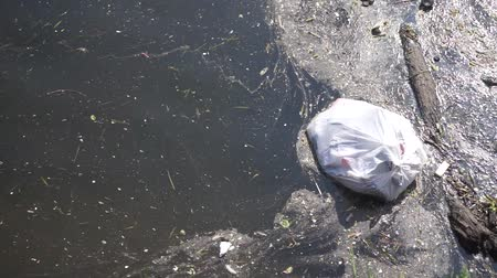 wysypisko śmieci : Plastic waste polluting into nature. rubbish bag floating on water Wideo