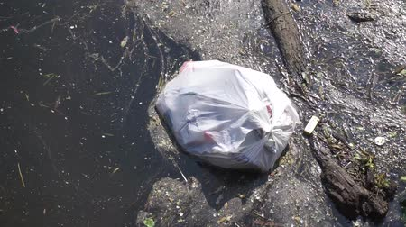 ambientalmente : Plastic waste polluting into nature. rubbish bag floating on water Vídeos