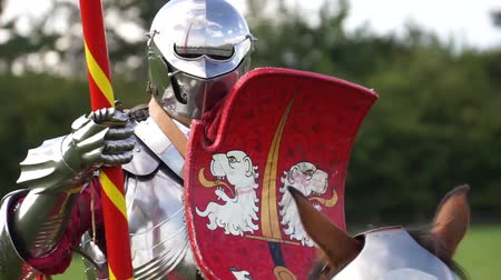 щит : Brackley, UK - June 7th 2019: A medieval knight on horseback takes part in a jousting competition Стоковые видеозаписи