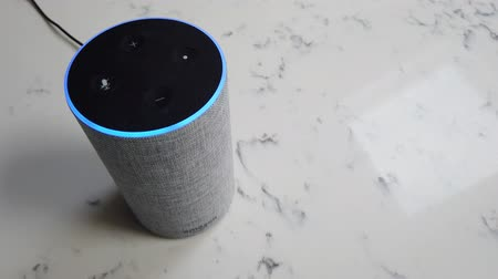 uznání : LONDON, UK - October 29th 2019: Amazon Echo 2nd generation device with Alexa voice recognition service Dostupné videozáznamy